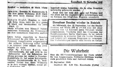 """""""Dresdner Sender wieder in Betrieb"""""""