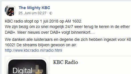 KBC radio stopt op 1 juli 2018 op AM 1602.