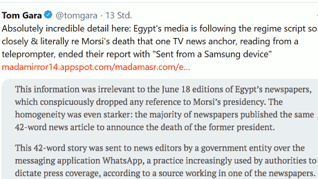 "Egypt's media is following the regime script so closely & literally re Morsi's death that one TV news anchor, reading from a teleprompter, ended their report with ""Sent from a Samsung device"""