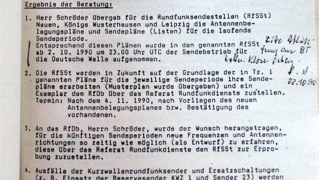 """""""Ab 2.10.1990 um 23.00 UTC Sendebetrieb für die Deutsche Welle aufgenommen"""""""